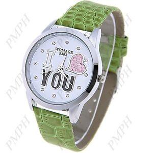 Women's girls heart rhinestones synthetic leather band wrist watch
