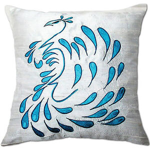 peacock white and blue embroidered cotton cushion covers