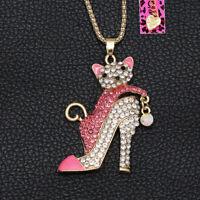 Betsey Johnson Enamel Crystal High Heels Shoe Cat Kitten Pendant Chain Necklace