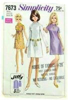 "Simplicity Vintage 1960's Mini Shift Dress Bust 34"" Size 12 Sewing Pattern Mod"