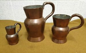3 Antique Copper Measures Crown Stamped for Forfar circa 1885 Rare.