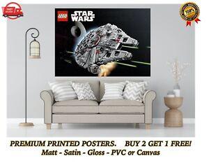 Lego Star Wars Millennium Falcon Large Poster Art Print Gift A0 A1 A2 A3 A4
