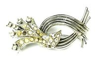 Rhinestone Brooch Midcentury Vintage Costume Jewelry Pin Silver Plated