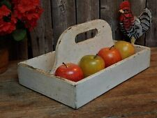 Vintage Old Rustic Wooden White Cutlery Carrier Tool Box Farmhouse Tote