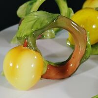 Vintage Set of SIX Hand Made Millard Lister Napkin Rings Ceramic Fruits