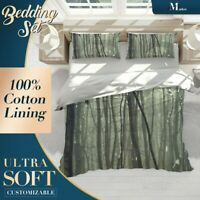 Snowy Forest Plant Green Quilt Cover Doona Duvet Cover w 2 Pillowcases