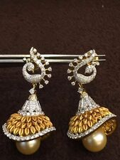 Pave 21.44 Cts Natural Diamonds Pearl Jhumki Earrings In Solid Hallmark 14K Gold