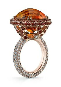 14k Rose Gold Plated Engagement Ring 925 Sterling Silver Orange Round CZ Halo