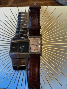 Two Designer Mens Watches Emporio Armani /D&G Not Working?Batteries Sold As Seen