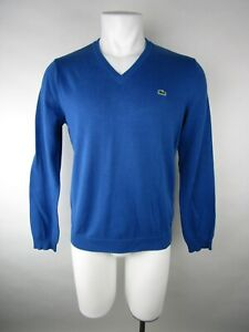 Lacoste Mens Blue V Neck Ribbed Long Sleeve Lightweight Pullover Sweater Size 4