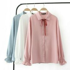 Lady Girl Polo T Shirt Chiffon Business Cute Bowknot Tie Casual Tops Blouse Soft