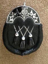 Men's Scottish Black Kilt Dress Sporran Antique Anemal Cantle Sporran