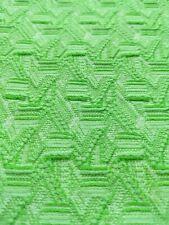 New listing 1 Yard Vtg 70s Mod Green Tiki Geometric Design Disco Textured Mcm Sewing Fabric