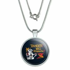 """Danger Will Robinson B9 Robot Lost In Space 1"""" Pendant w/ Silver Plated Chain"""