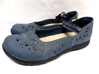 WOMENS EARTH SPIRIT~CASUAL SANDAL COMFY~BLUE~SLIP ON COMFORT FLOWER~GIRL SHOES