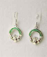 Irish Sterling Silver Claddagh Drop Earrings Emerald CZ Green Stones New Boxed