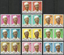 Sierra Leone Portrait President Siaka Stevens Heads ** 1972 20 Valeurs en Paires