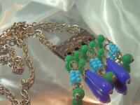 FAB Art Glass Eqyptian Revival Colorful Statement Vintage 60's Necklace 285JN0
