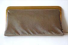 VINTAGE CLUTCH PURSE GOLD Diamond Shape Grid Retro HANDBAG Evening Bag JAPAN