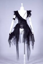 Black Victorian Lace & Chiffon Layering Dress with Feathers Witch Costume