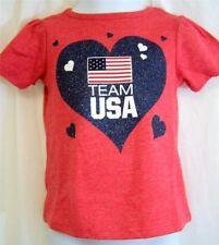 Old Navy Red White Blue American Flag Glitter Heart Team USA Infants T Shirt 18M