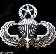 GENUINE U.S. MASTER AIRBORNE PARATROOPER PARACHUTE WINGS BADGE 2 COMBAT JUMPS
