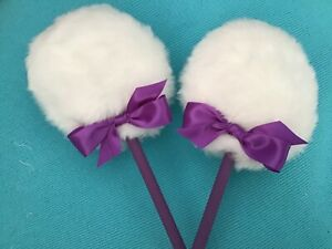 Two Lollipop powder puffs w/handle,  dusting powder puffs, purple