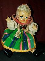 "Vintage estate Doll Hard Plastic 8""jointed antique ethnic RUSSIA ? PETTICOLIN ?"