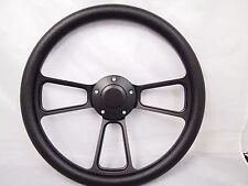 YAMAHA GOLF CART & POLARIS RHINO Black steering wheel W/ Adapter 3 spoke