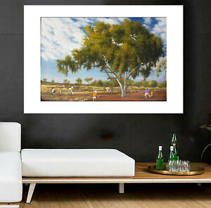 Cricket world cup Art signed landscape Painting Bush poster Australia outback