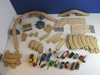 all GENUINE BRIO & THOMAS TANK ENGINE WOODEN TRAIN TRACK lot bundle bridge road