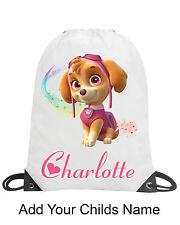 Paw Patrol Skye Girl Personalised School Gym Swimming PE Nursery Drawstring Bag