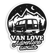 2 x 10cm Van Love Vinyl Stickers - Camping Road Trip Fun Luggage Sticker #34691