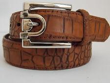 "M Size 32-34 Men's Brown Croc Print  Genuine Leather Dress Belt Width 1 1/8"""