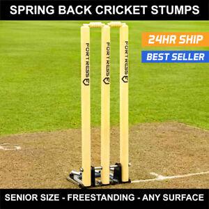FORTRESS Spring Back Cricket Stumps [Regulation]   Wooden Stumps + Bails