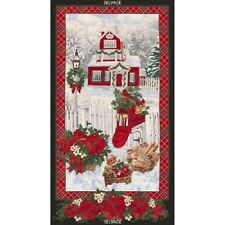 """Christmas Snowy Home Panel cotton quilt fabric Timeless Treasures BTP 24x44"""""""