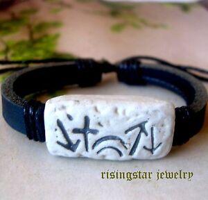 Men's Christian Jesus Resurrection Symbol Leather Surfer Bracelet Wristband