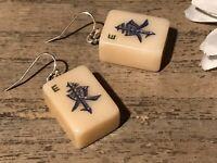 Recycled Broken Game Tile Jewelry, Vintage Small Mah Jongg Dangling Earrings