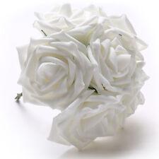 50 pcs Ramo De Flores Rosa blanco artificial Novia Boda Espuma dama de honor