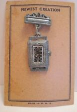 Old 1920s unusual Lead Toy Watch Pin on display card