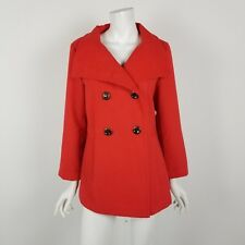 Calvin Klein Pea Coat Womens Size 6 Double Breasted Shawl Collar Jacket Red NWOT
