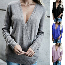 Womens Knitted Deep V-Neck Long Sleeve Wrap Front Loose Sweater Pullover Jumper