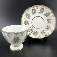 Vintage Salisbury Teacup & Saucer Fine Bone China Made In England Gold Footed