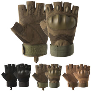 Tactical Hard Knuckle Half Finger Gloves Army Military Airsoft Mens Work Gloves