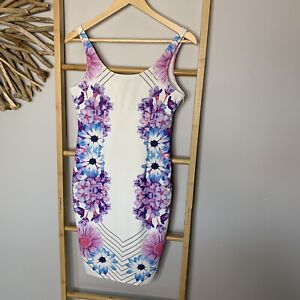 Dotti Size 10 S Wiggle Dress Bodycon Purple Flower Daisy Stretch