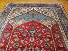 ISFAHANi handwoven Nain rug 1950s state sale hand knotted rug 9x12 red & blue