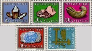EBS Switzerland Helvetia 1960 Pro Patria - Crafts Minerals Fossils 714-718 MNH*