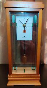 Bulova Frank Lloyd Wright pendulum Clock walnut Quartz  Battery