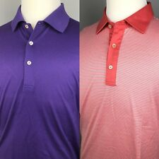 Lot of 2 Peter Millar Golf Polo Shirts Mens Large Purple Coral White Striped S/S