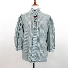Tracht Fashion German Top Size 40 Original Alphorn 3/4 Sleeve Embroidered Stripe